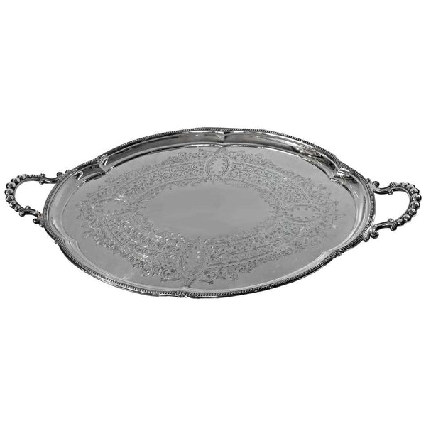 Large Antique Silver Plate Tray, Walker and Hall, circa 1890