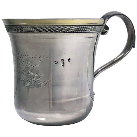 Regimental Spanish Colonial Silver Mexican 19th Century Mug, circa 1847