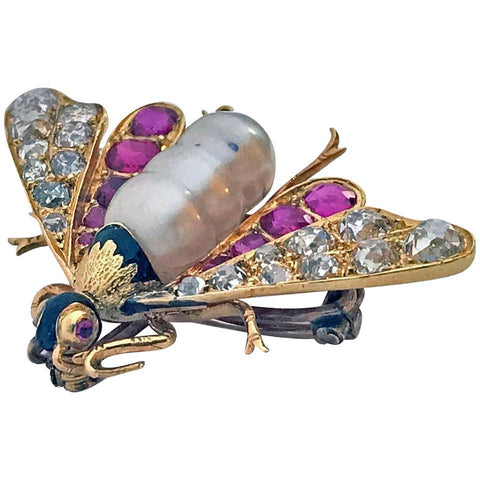 Antique 18-Karat Ruby Diamond and Pearl Bee Brooch Pin, circa 1880