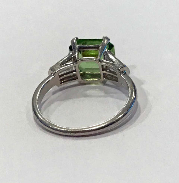 Art Deco Platinum Peridot Diamond Ring, circa 1920