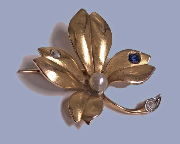 French Sapphire Pearl Diamond Gold Brooch