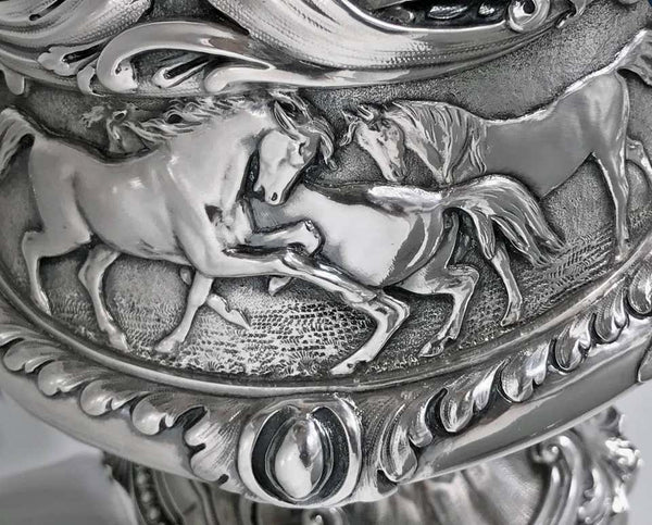 Important Design Silver Equine Wine Ewer Jug, Edward & John Barnard, London 1864