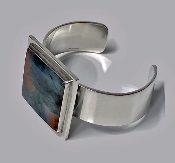 Sterling Silver Moss Agate Bangle