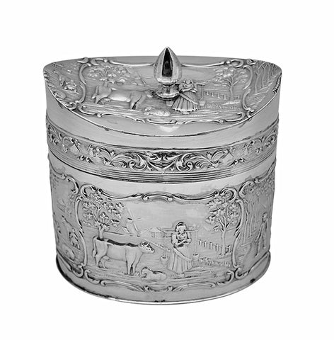 Antique Silver Tea Caddy, H. Hooykaas Dutch, circa 1900