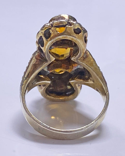 Theodor Fahrner attributed Art Deco Silver and orange stone Ring C.1920
