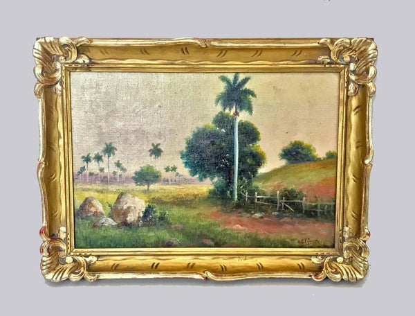 Juan Gil Garcia Cuba Landscape with Palms Oil on Canvas on Board
