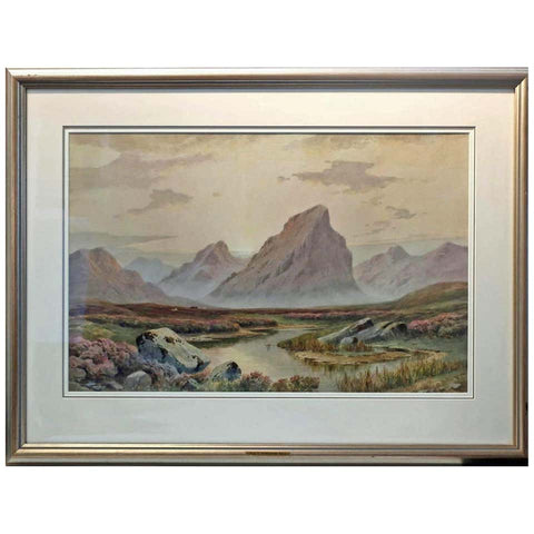 Charles E. Hannaford RBA. Watercolour Sundown Glen Coe Argyllshire 1944.
