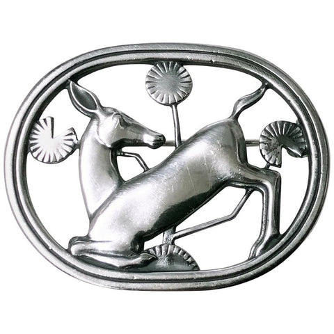 Georg Jensen Sterling Deer Brooch, Designed by Arno Malinowski