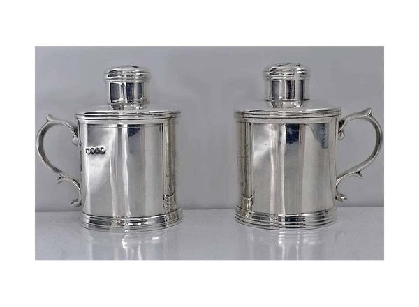 Miniature Silver Tankard Peppers Casters, M. Goldstein London, 1885