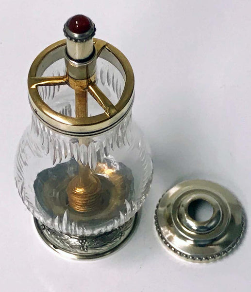 Sampson Mordan Silver Vermeil Glass Pepper Grinder, 1901