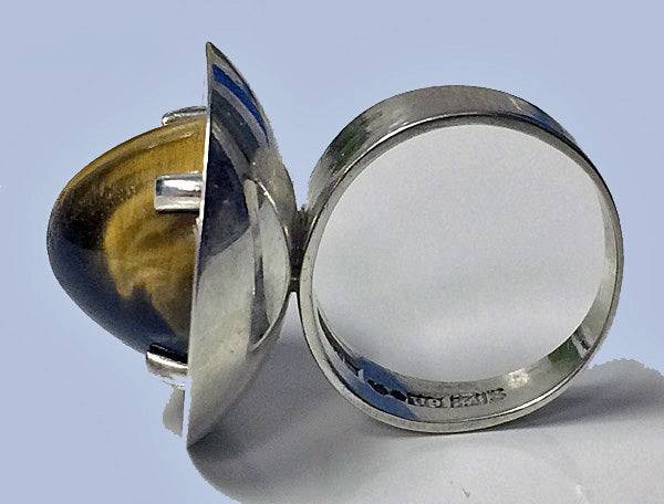 Bengt Hallberg Modernist Swedish Silver & Tigers Eye Ring, 1970