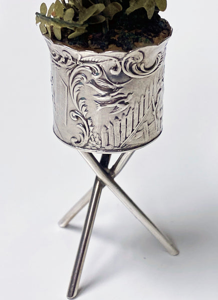 Antique Silver Miniature Planter and Stand, Germany C.1900.