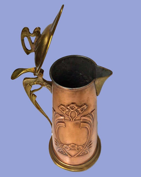Arts & Crafts Copper and Brass Pitcher Jug, circa 1900