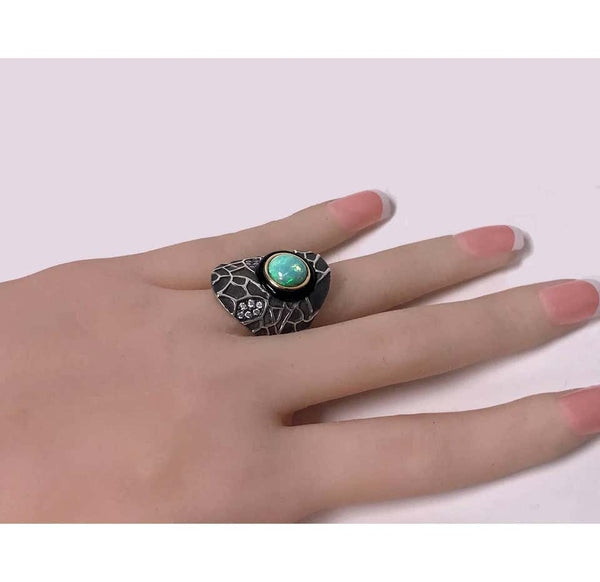 Diamond Opal Onyx Silver and Gold Ring