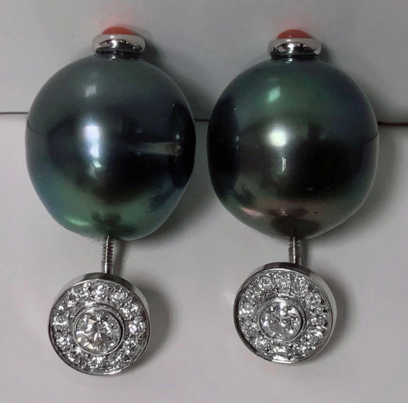 Gold Diamond, Black Tahitian Pearl and Coral Earrings.