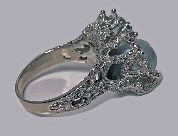 Abstract Modern Nugget Emerald Pearl White Gold Ring circa 1970