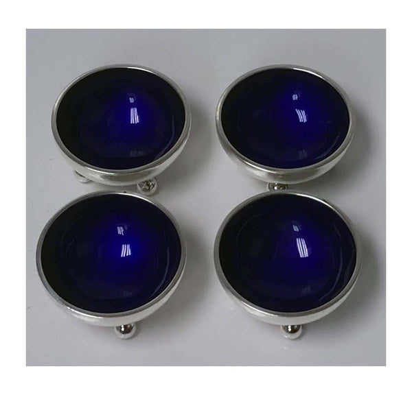 Four Georg Jensen Sterling Silver Salts with Cobalt enamel Interiors
