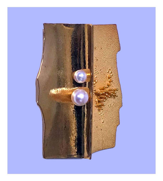 Walter Schluep 18K Pearl Abstract Brooch Pin, C.1970
