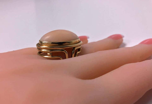 18 Karat Angel Skin Coral Ring, circa 1970 Secrett