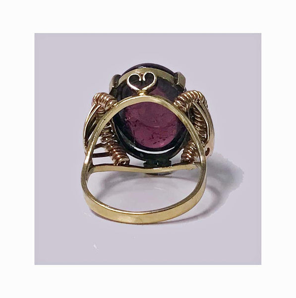 1930s Austrian Pink Tourmaline Gold Ring