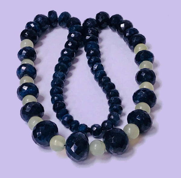Sapphire and Jade large Bead Necklace