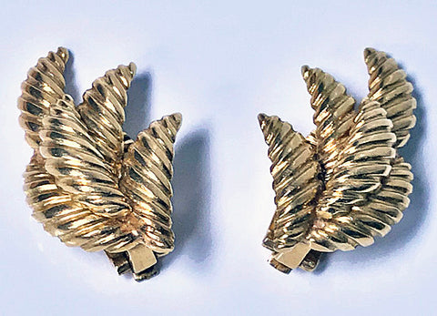1970's 18K Leaf Earrings clip fitments
