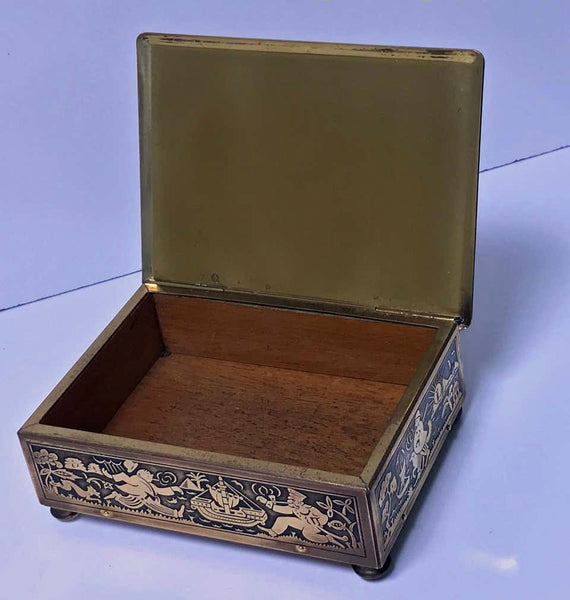 Art Deco Exotic Brass Jewelry Box, Germany, circa 1920