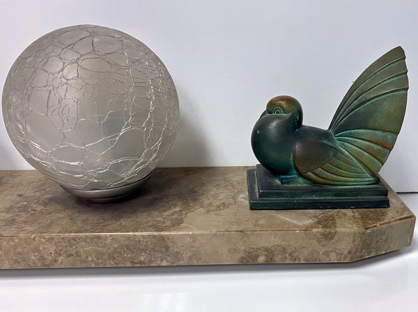 French Art Deco Bird Sculptures Lamp, circa 1930