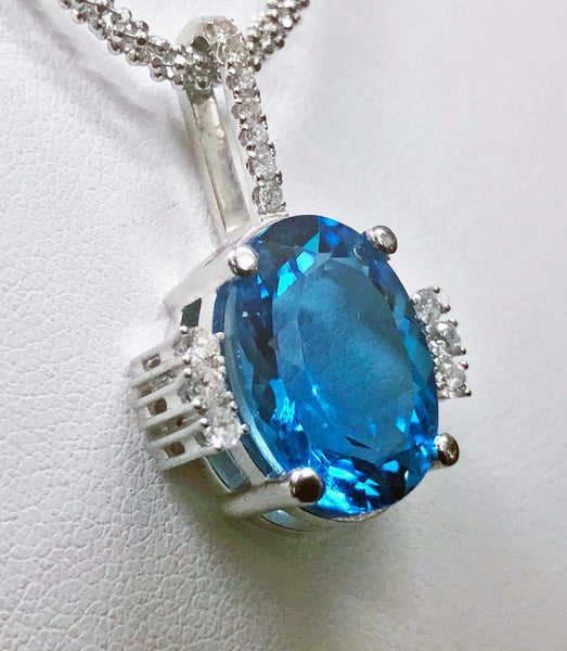 Topaz and Diamond Gold Necklace Pendant