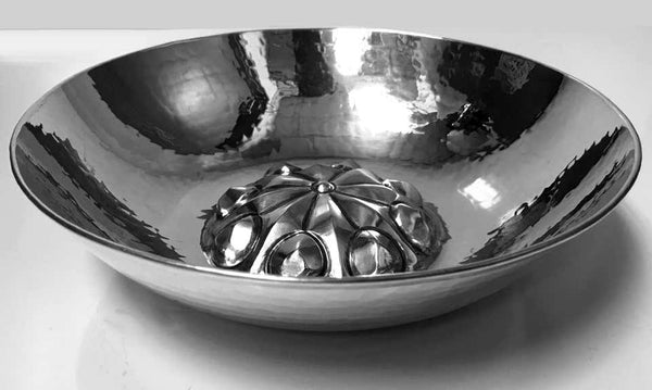 Midcentury Silver Hammered Bowl, Probably Eastern