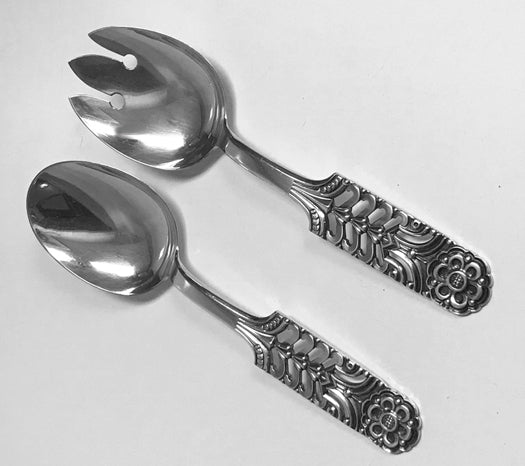 Sterling Silver Salad Servers Floriform pattern by David Andersen. C. 1950
