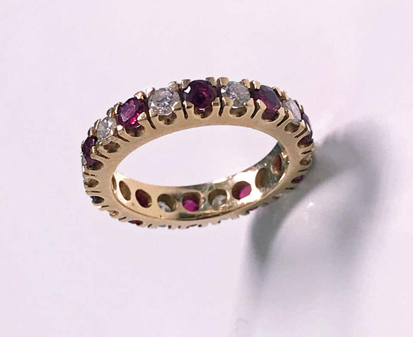 Ruby and Diamond Gold Eternity Ring