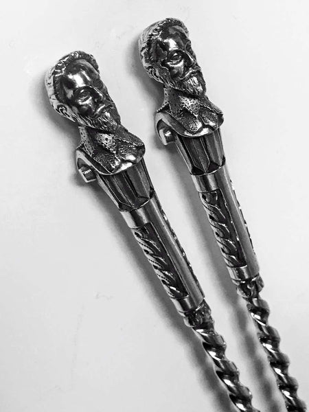 Sir Walter Raleigh Newcastle 1882 Christian Reid  Antique Silver Servers