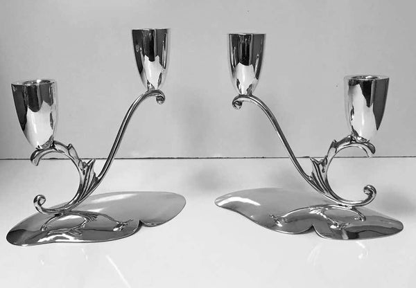 1950s Pair of Midcentury Mexican Sterling Candlesticks Reyes