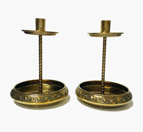 Pair WMF Brass Arts Crafts Candlesticks C.1900