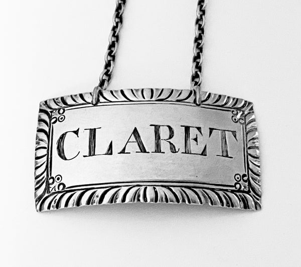 Georgian Silver Wine Label, Claret London C.1780 Margaret Binley