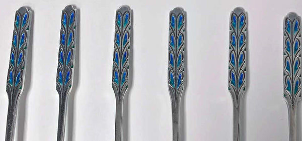 Set of Liberty Enamel Spoons, Birmingham 1925, Fitted Box