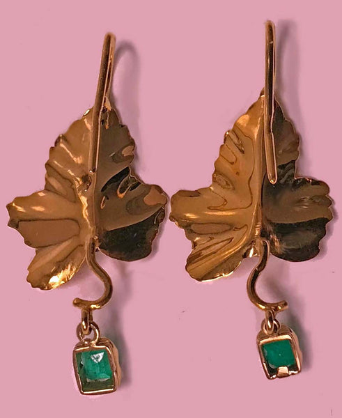 20th Century Garnet Emerald Gold Drop Earrings