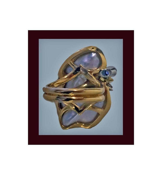 Mother-of-Pearl, Diamond, Sapphire 18K Ring