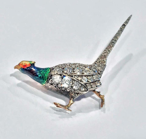 Antique Enamel and Diamond Pheasant Brooch, English, circa 1880