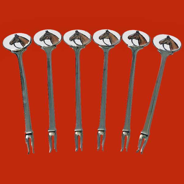 Six Sterling Enamel Cocktail Martini Sticks, Birmingham 1960 Alexander Clark