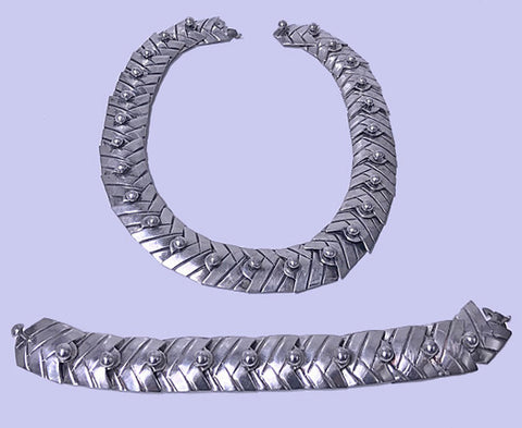 South American Sterling Necklace and matching Bracelet, C.1950