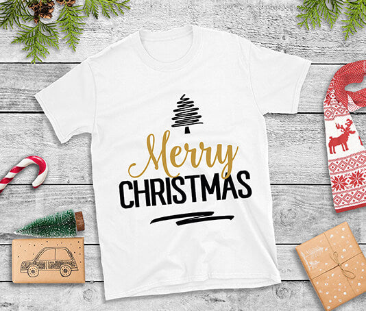Merry Christmas t shirt with tree gold and black design