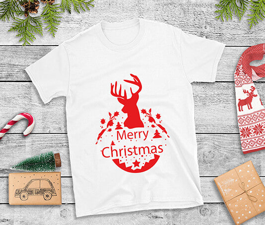 Red Reindeer Merry Christmas Design