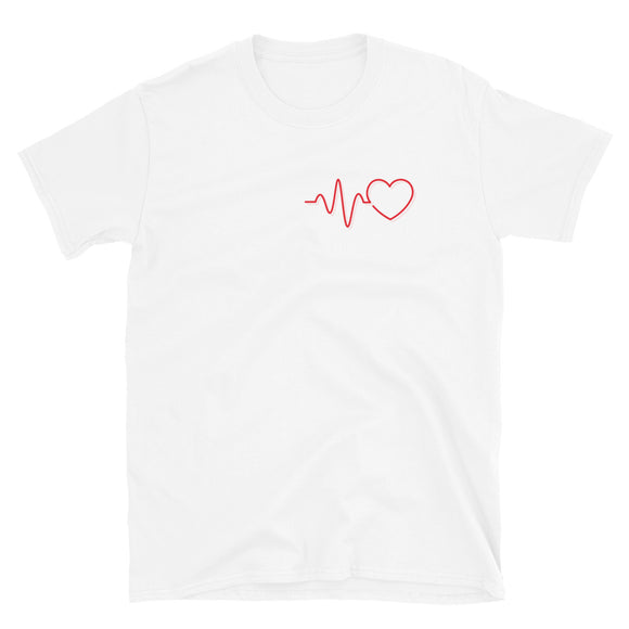 Heartbeat With Heart T-Shirt | Womens T-Shirts-Shirt-The Gift Creators LTD