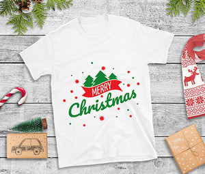 Merry Christmas Ladies t shirt with banner snowflakes and trees