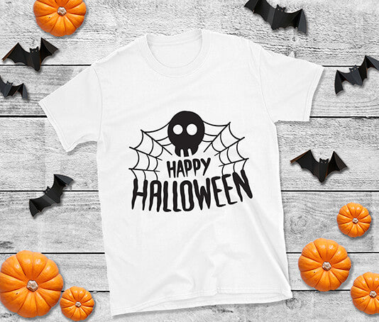 Skull and web design t shirt halloween uk