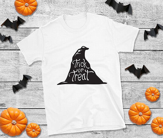 Witches hat design with trick or treat in black artwork