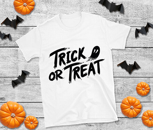 Trick or Treat t shirt design halloween ghost paint brush effect design