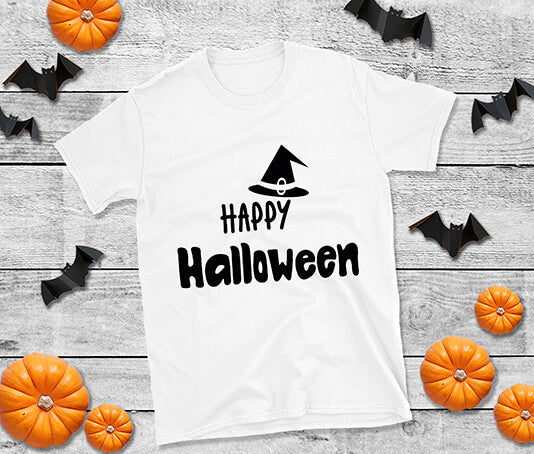Happy halloween wearing witches hat design t shirt